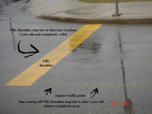 TBL Durables life expectancy compared to oil-based or water-based line striping paint