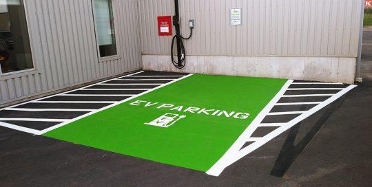 Custom Stencilling EV Parking Spot