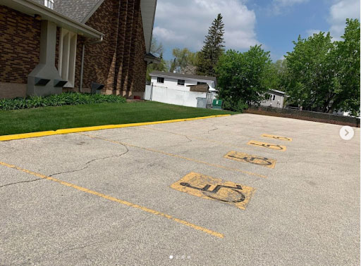 Worn out line painting in Winnipeg