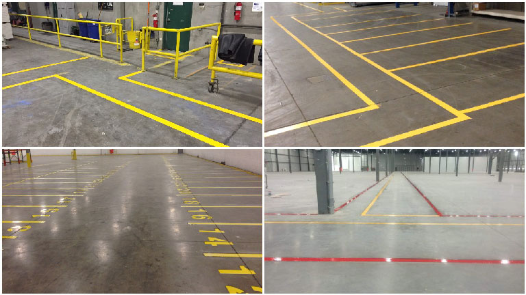 Interior line painting in warehouses